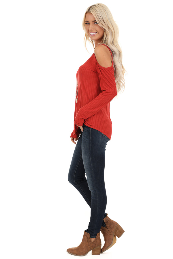Rust Long Sleeve Ribbed Knit Top with Cold Shoulders side full body