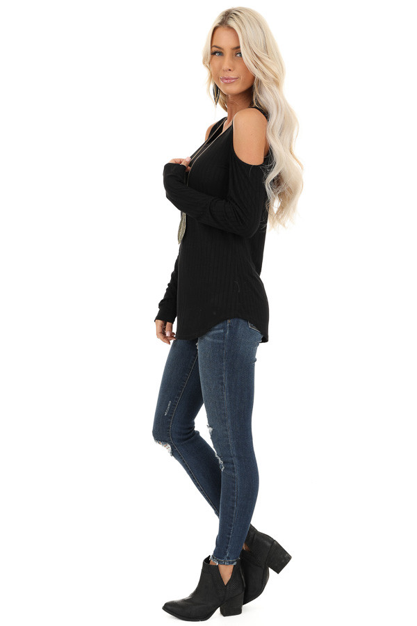 Ebony Long Sleeve Ribbed Knit Top with Cold Shoulders side full body