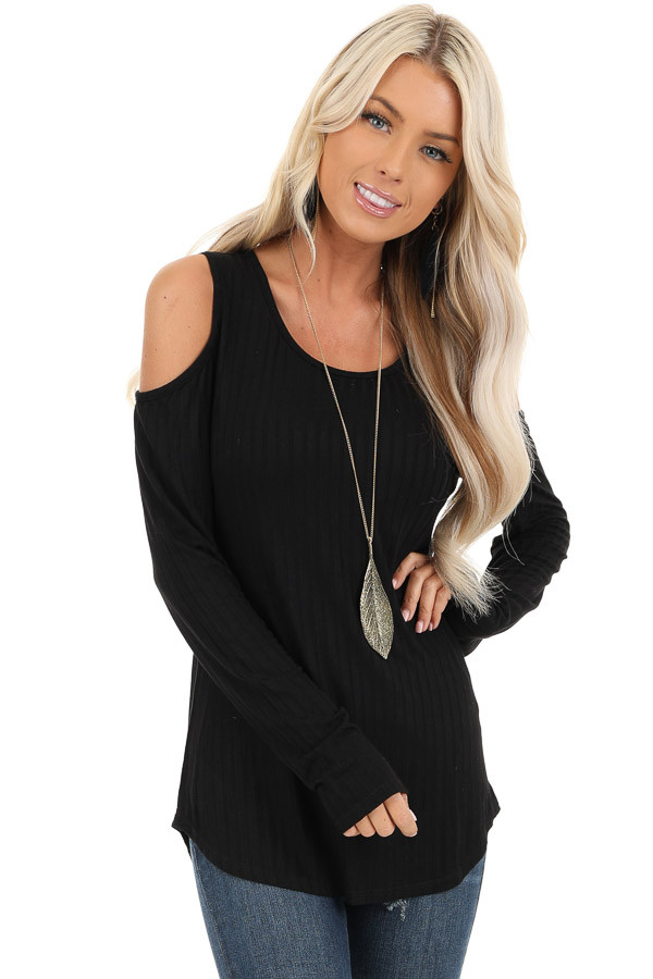 Ebony Long Sleeve Ribbed Knit Top with Cold Shoulders front close up