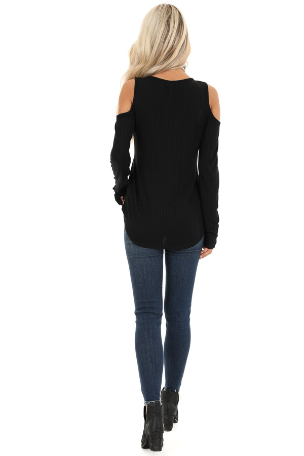 Ebony Long Sleeve Ribbed Knit Top with Cold Shoulders back full body