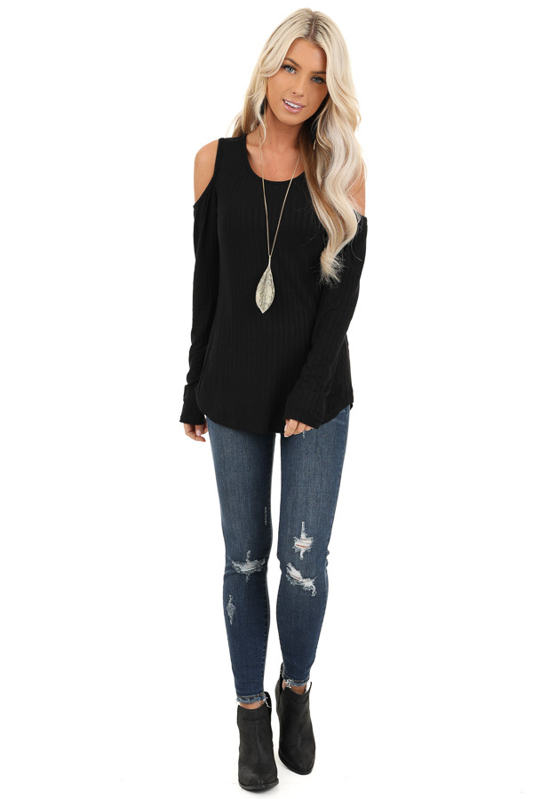 Ebony Long Sleeve Ribbed Knit Top with Cold Shoulders front full body