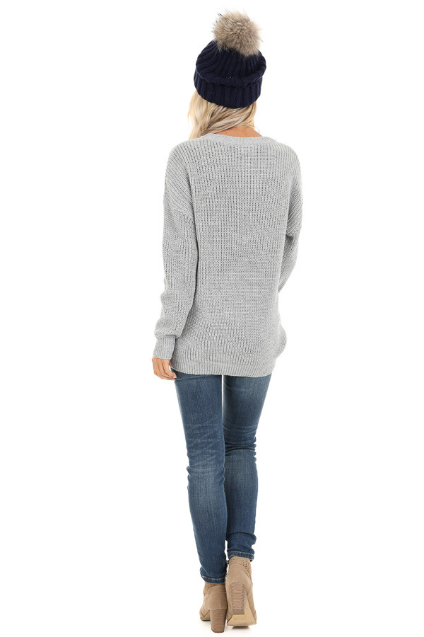 Heather Grey Cable Knit Sweater with Colorful Stripe Details back full body