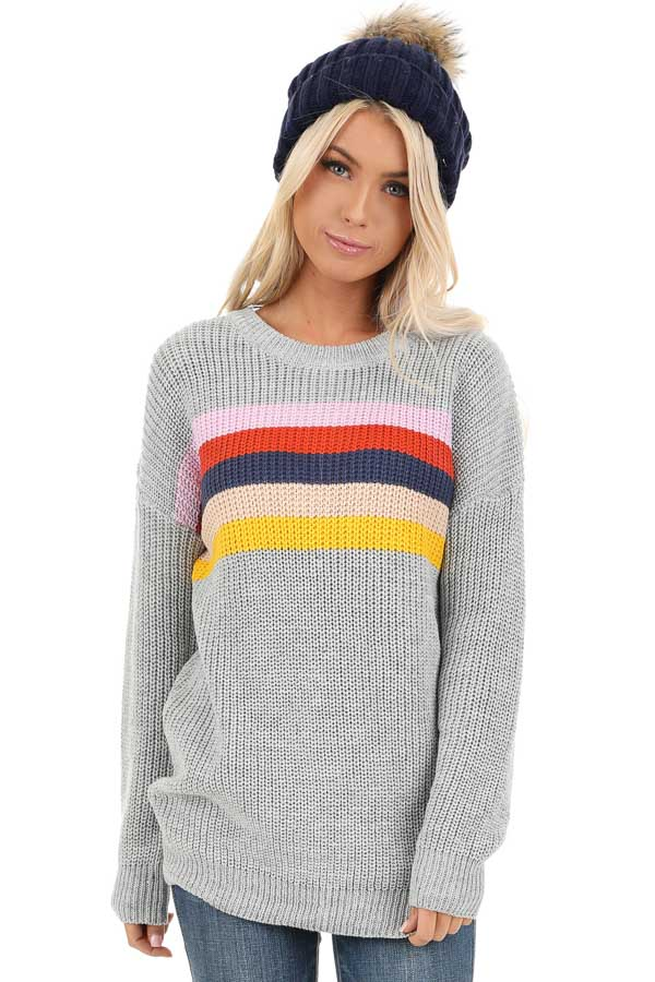 Heather Grey Cable Knit Sweater with Colorful Stripe Details front close up