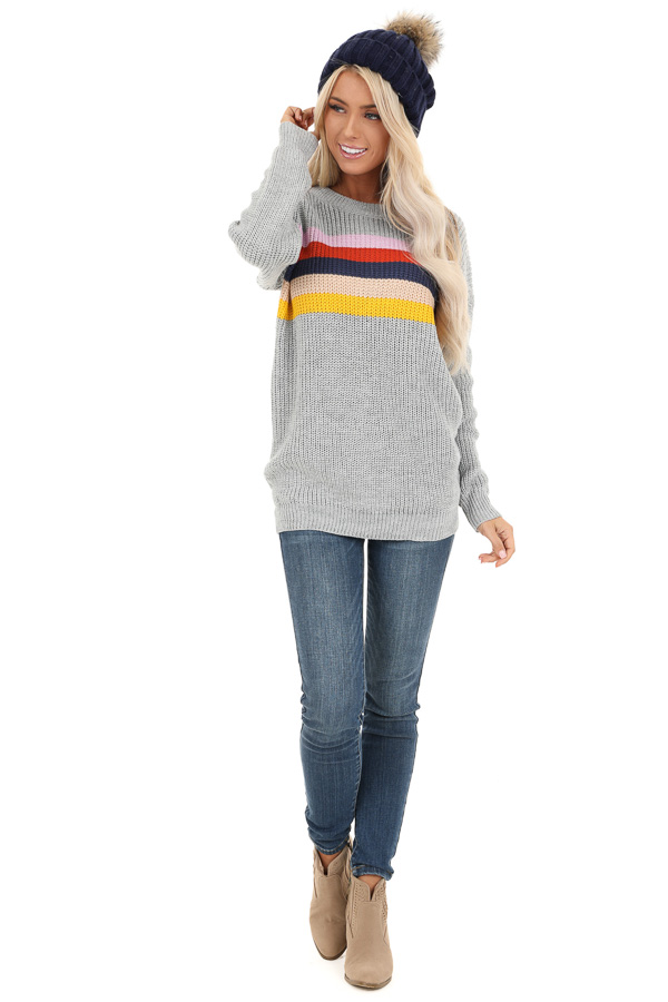Heather Grey Cable Knit Sweater with Colorful Stripe Details front full body