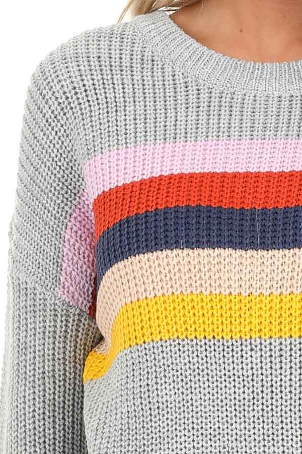 Heather Grey Cable Knit Sweater with Colorful Stripe Details detail