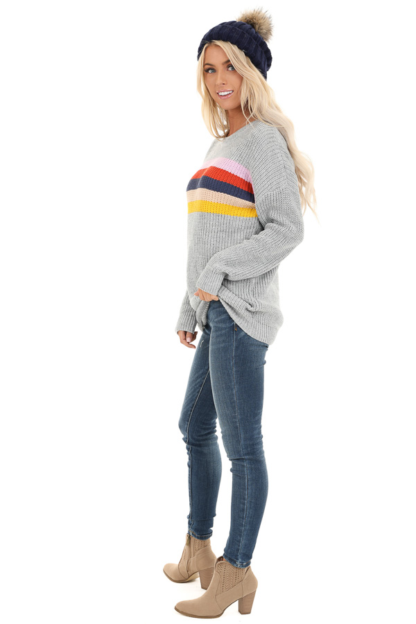 Heather Grey Cable Knit Sweater with Colorful Stripe Details side full body