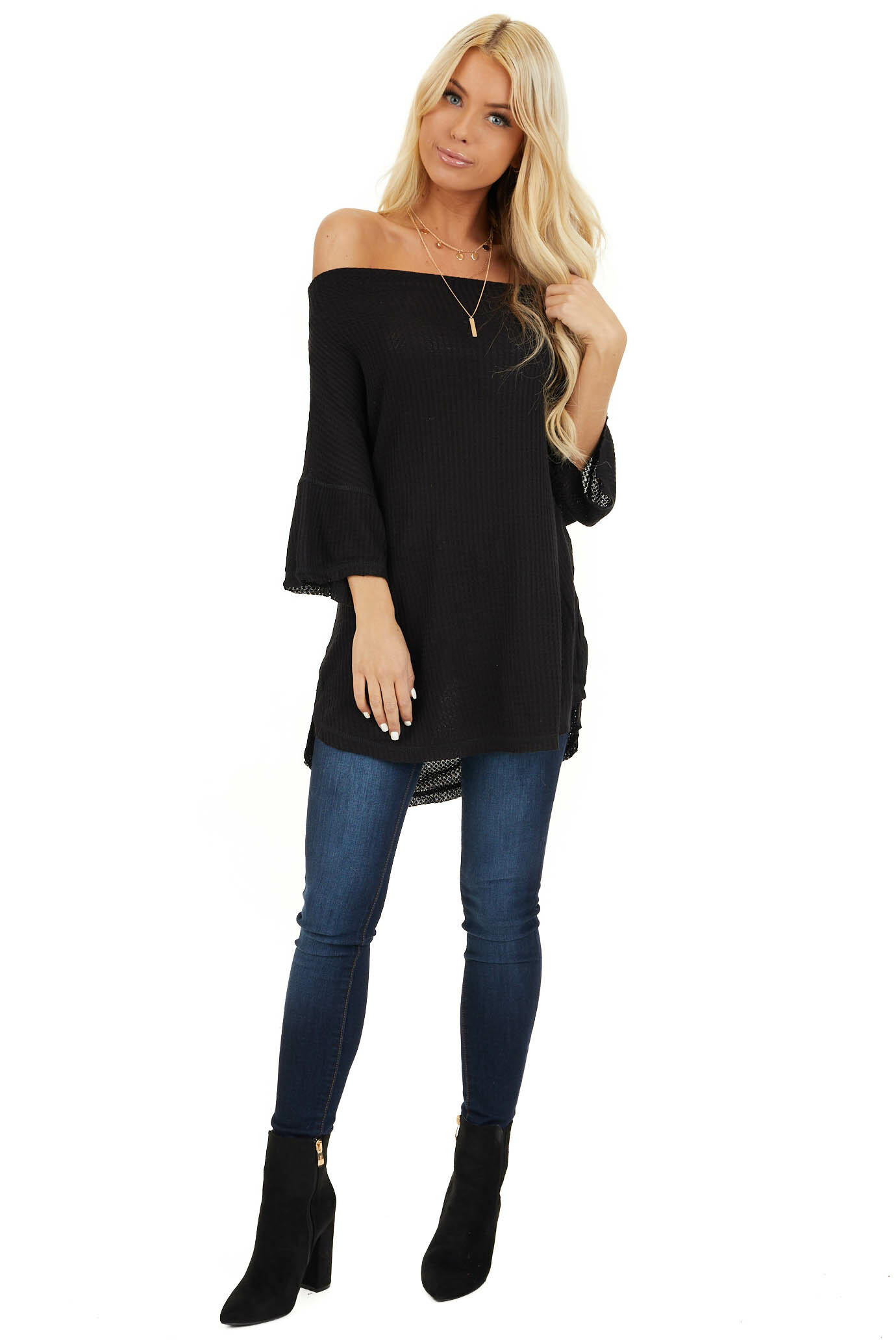 Midnight Off Shoulder 3/4 Sleeve Waffle Knit Top front full body