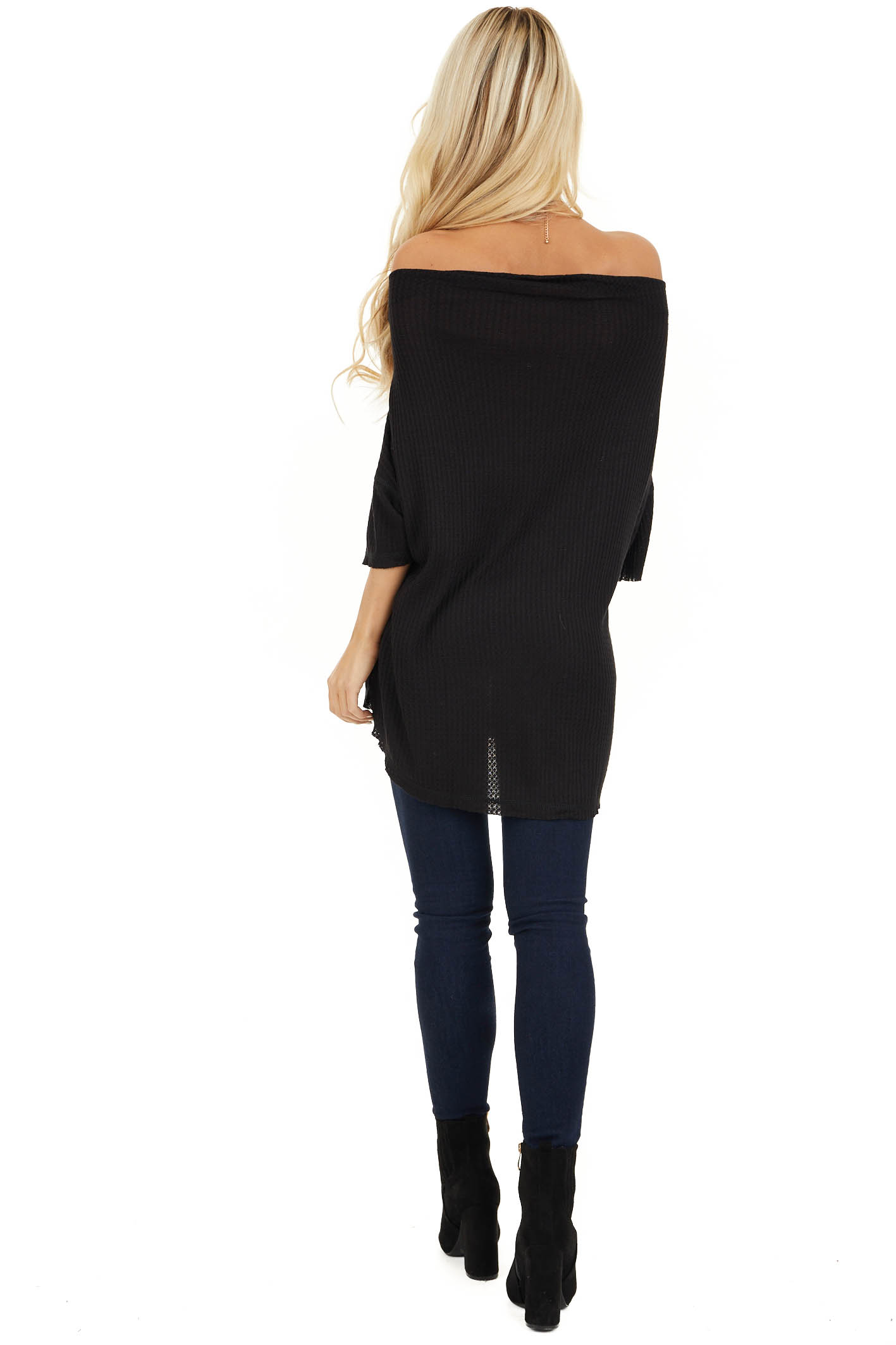 Midnight Off Shoulder 3/4 Sleeve Waffle Knit Top back full body