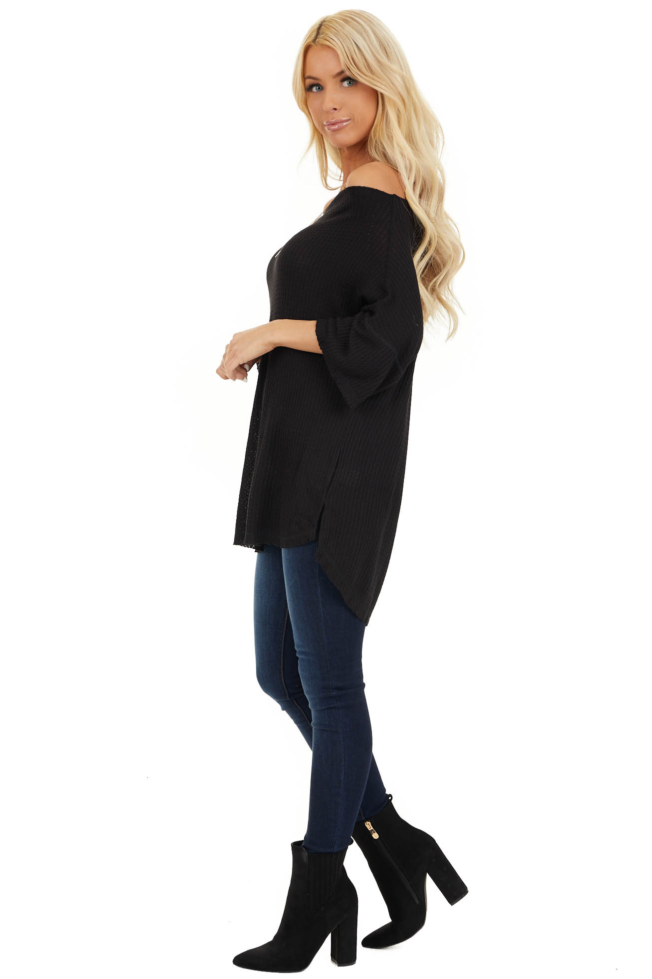 Midnight Off Shoulder 3/4 Sleeve Waffle Knit Top side full body