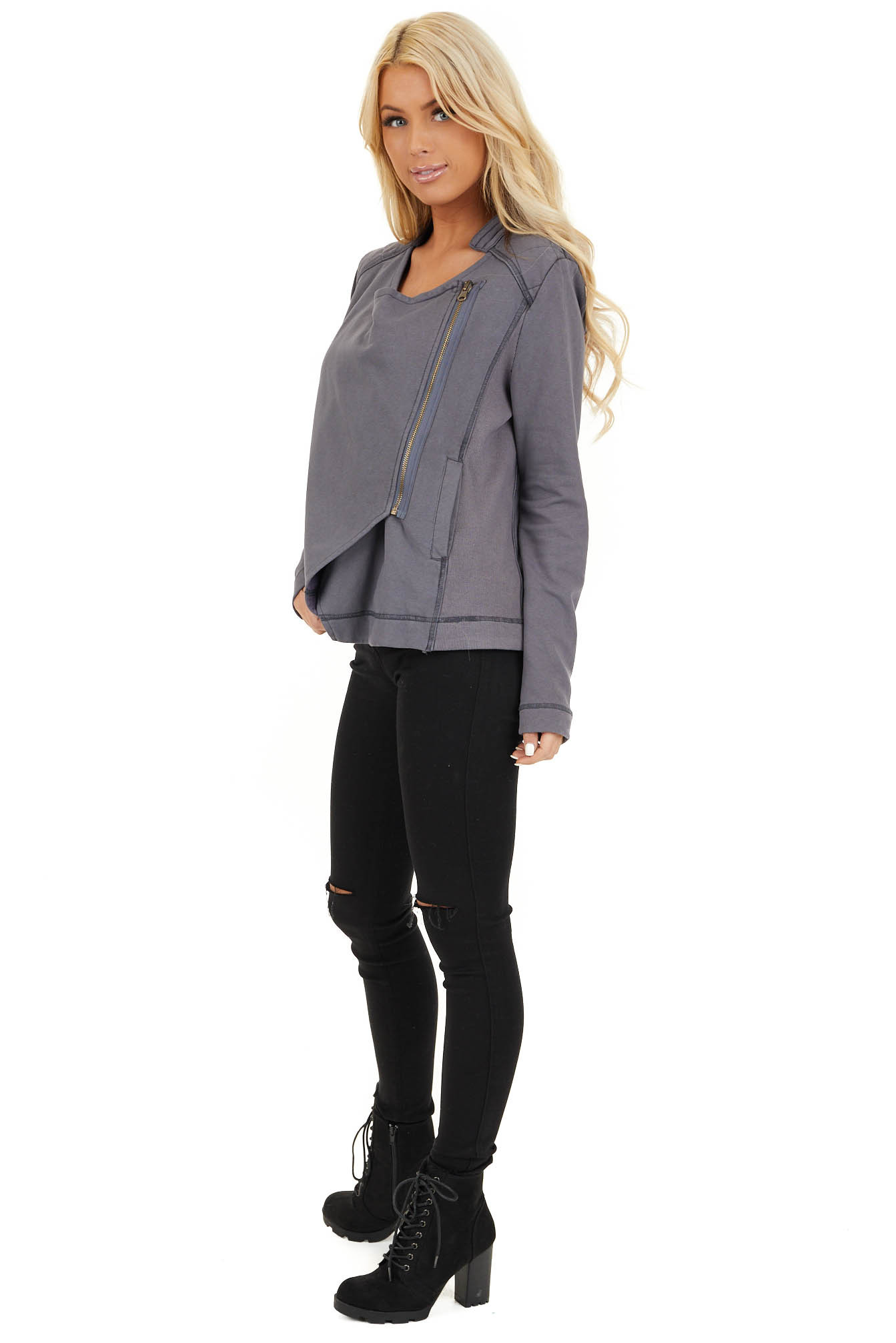 Charcoal Long Sleeve Zip Up Jacket with Quilted Detail side full body