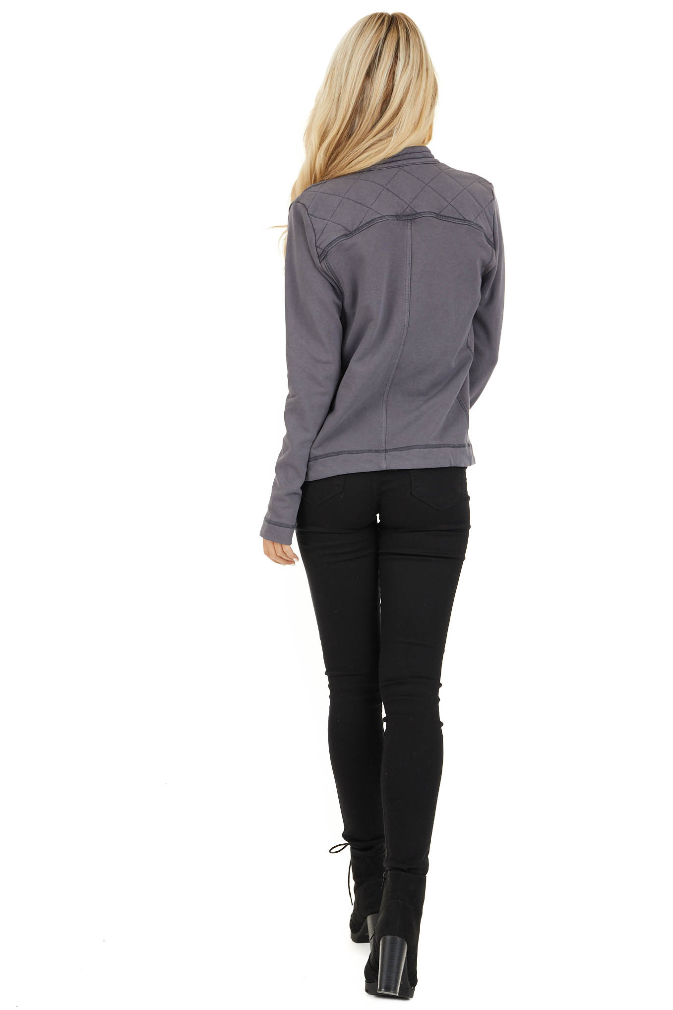 Charcoal Long Sleeve Zip Up Jacket with Quilted Detail back full body