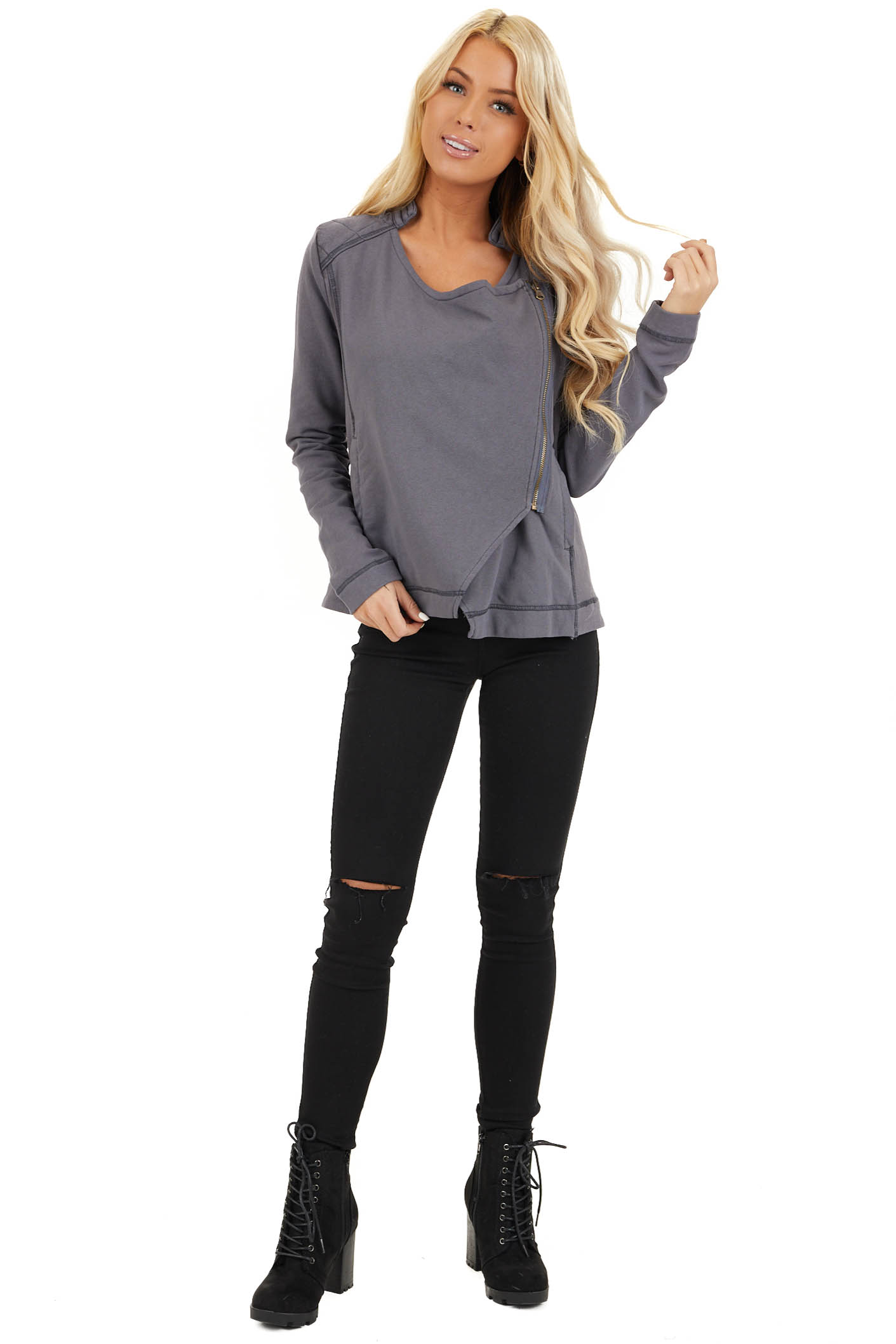 Charcoal Long Sleeve Zip Up Jacket with Quilted Detail front full body