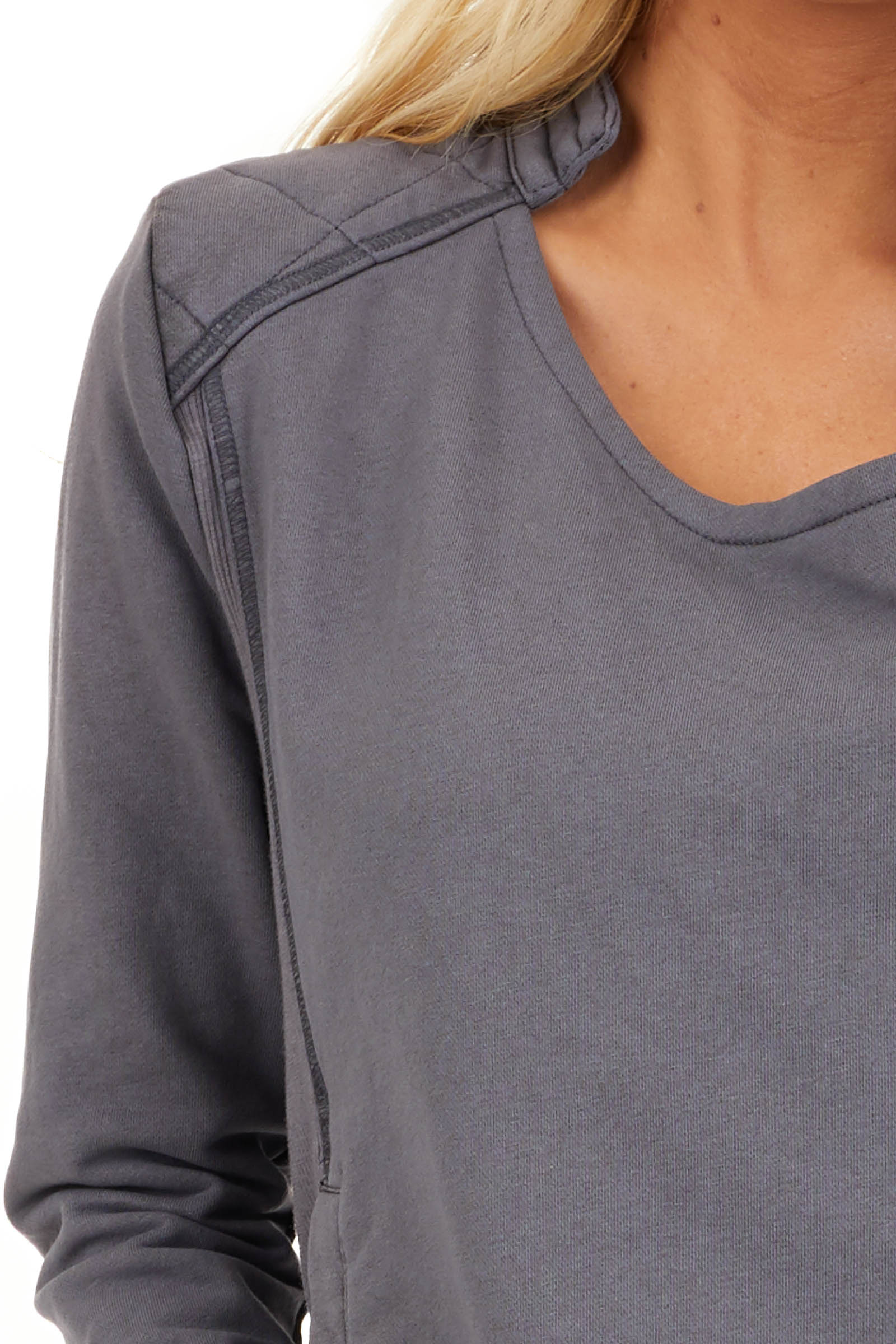 Charcoal Long Sleeve Zip Up Jacket with Quilted Detail detail