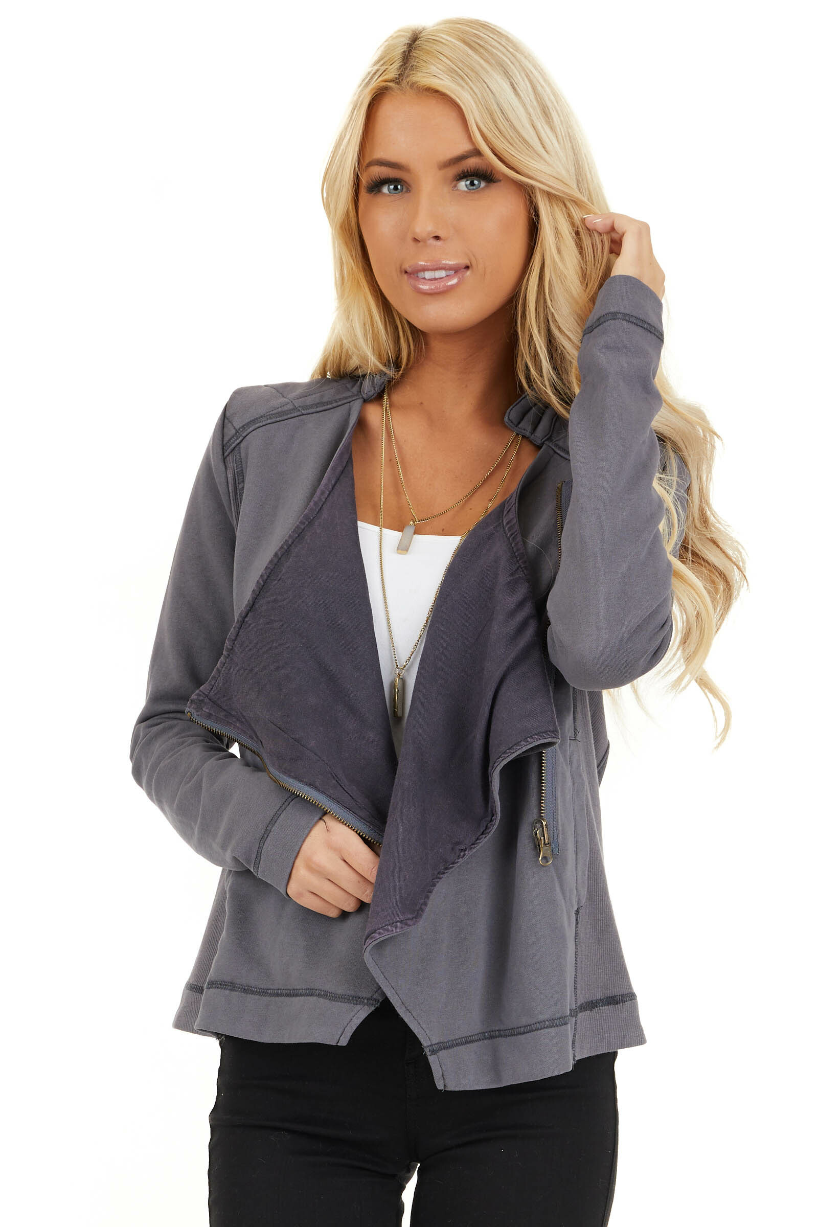 Charcoal Long Sleeve Zip Up Jacket with Quilted Detail front close up