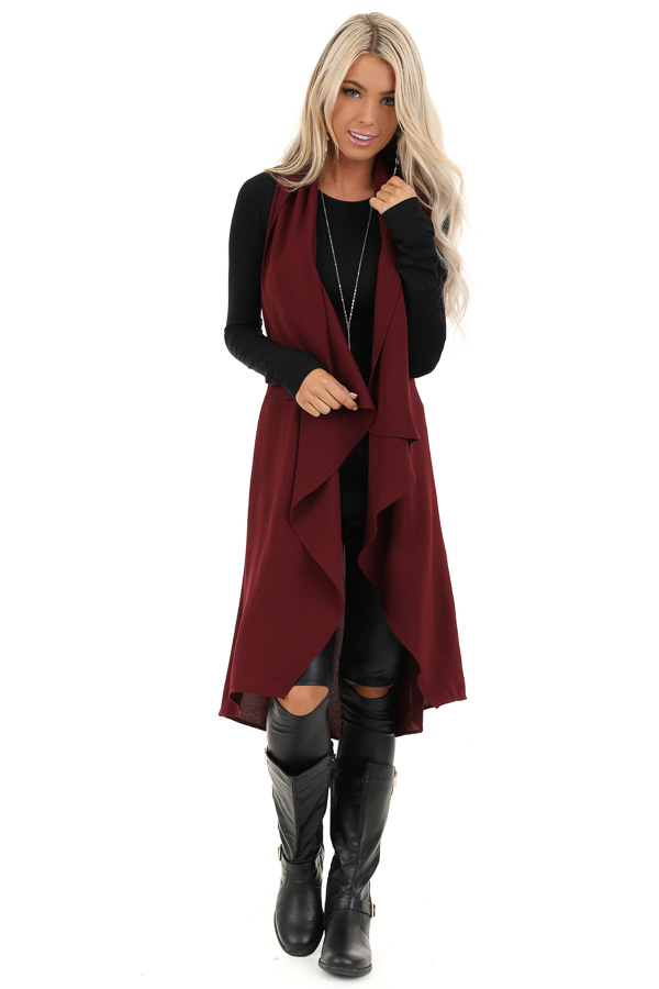 Dark Burgundy Draped Duster Vest with Tie Detail front full body