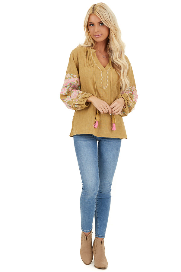 Pistachio Long Sleeve Peasant Top with Embroidered Details front full body