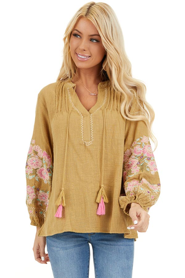 Pistachio Long Sleeve Peasant Top with Embroidered Details front close up