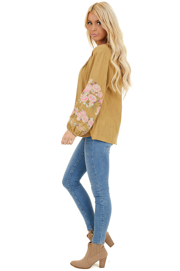 Pistachio Long Sleeve Peasant Top with Embroidered Details side full body