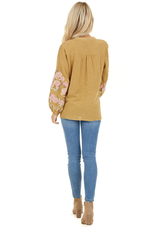 Pistachio Long Sleeve Peasant Top with Embroidered Details back full body