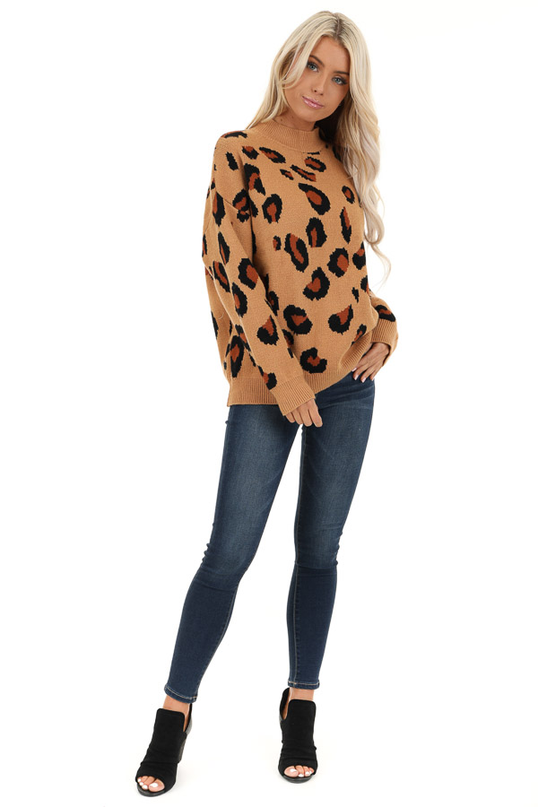 Camel Leopard Print Super Soft Long Sleeve Sweater Top front full body
