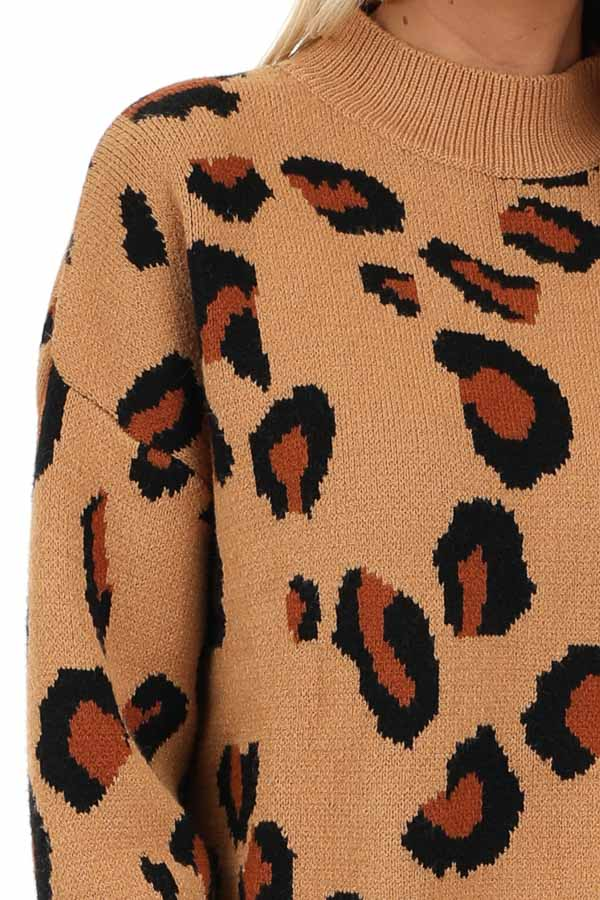 Camel Leopard Print Super Soft Long Sleeve Sweater Top detail