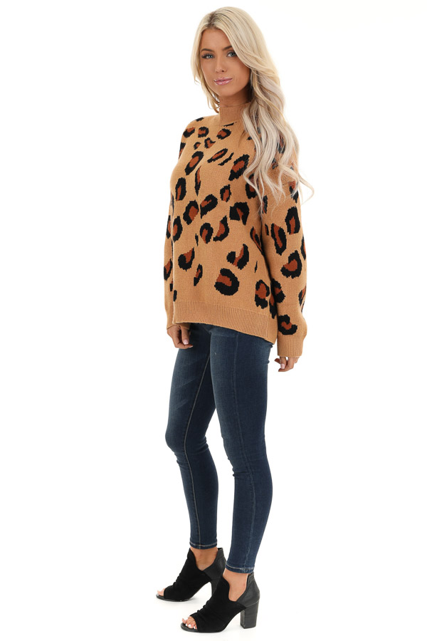 Camel Leopard Print Super Soft Long Sleeve Sweater Top side full body