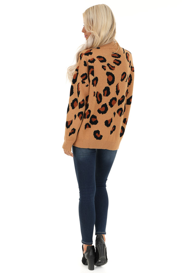 Camel Leopard Print Super Soft Long Sleeve Sweater Top back full body