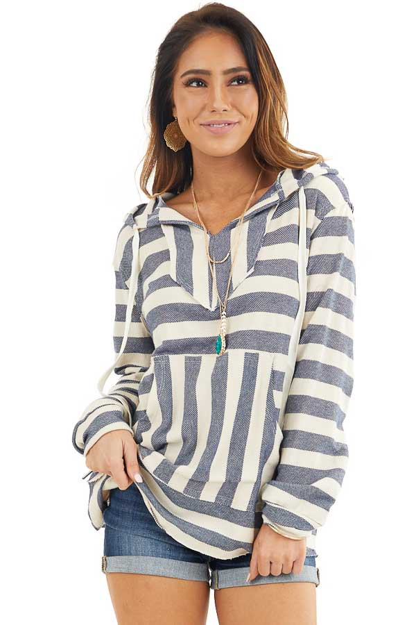 Navy and Ivory Striped Hooded Top with Kangaroo Pocket front close up