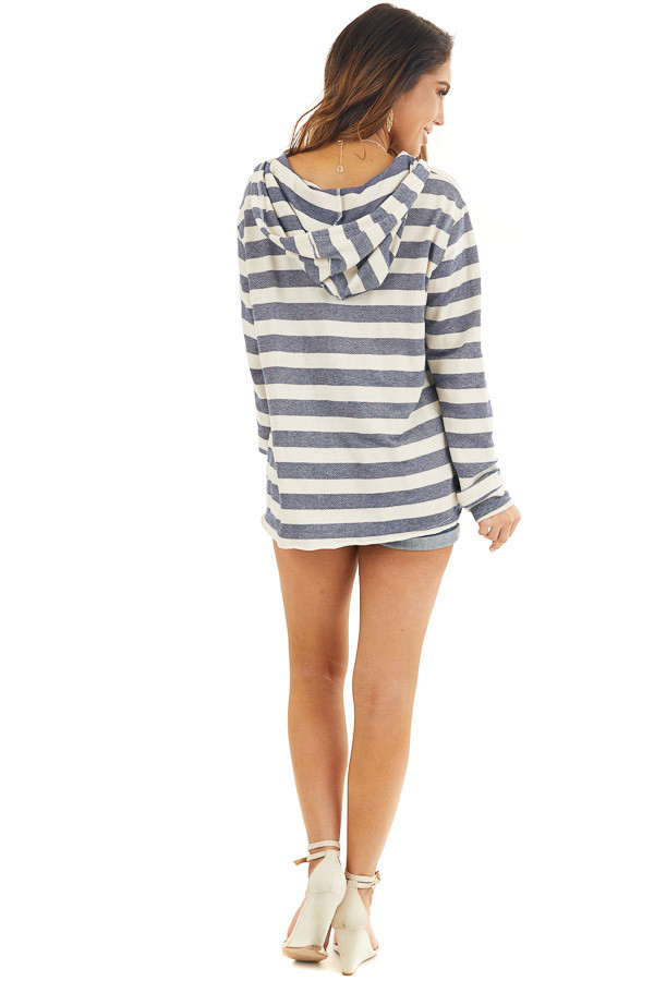 Navy and Ivory Striped Hooded Top with Kangaroo Pocket back full body