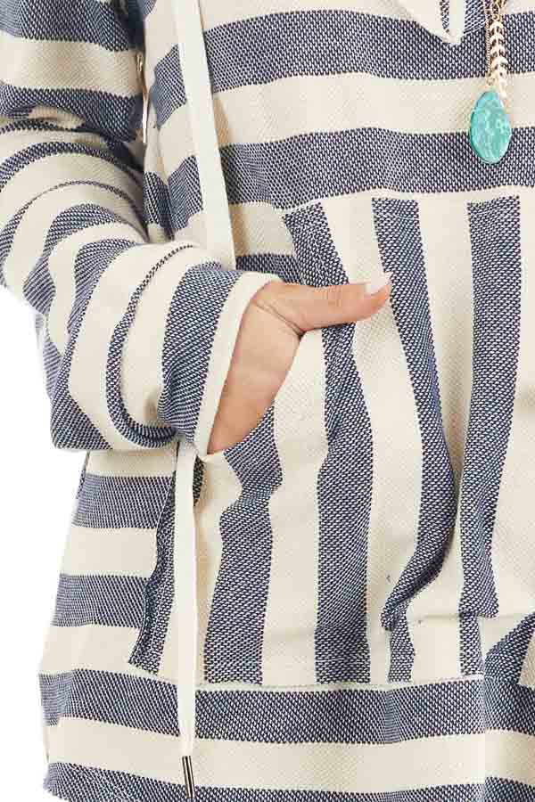 Navy and Ivory Striped Hooded Top with Kangaroo Pocket detail