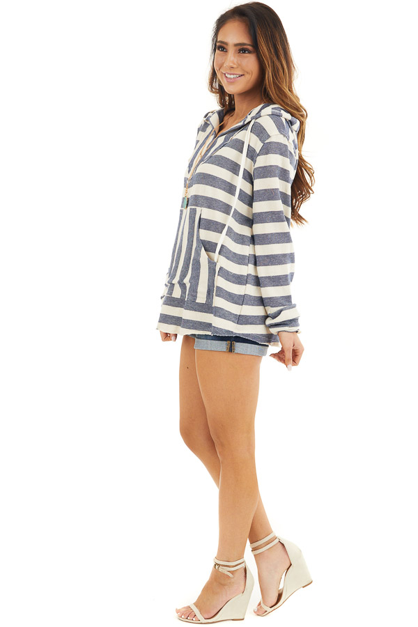 Navy and Ivory Striped Hooded Top with Kangaroo Pocket side full body