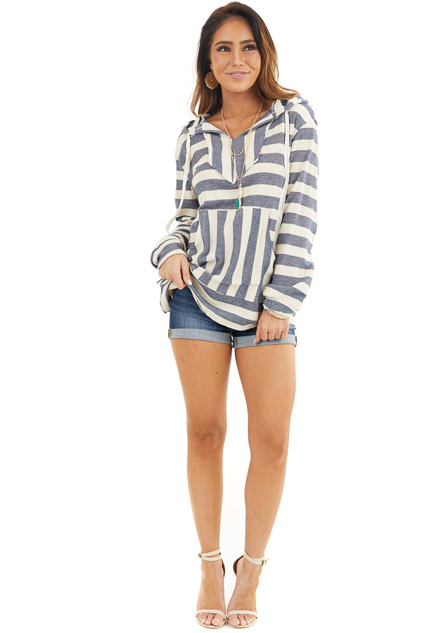 Navy and Ivory Striped Hooded Top with Kangaroo Pocket front full body