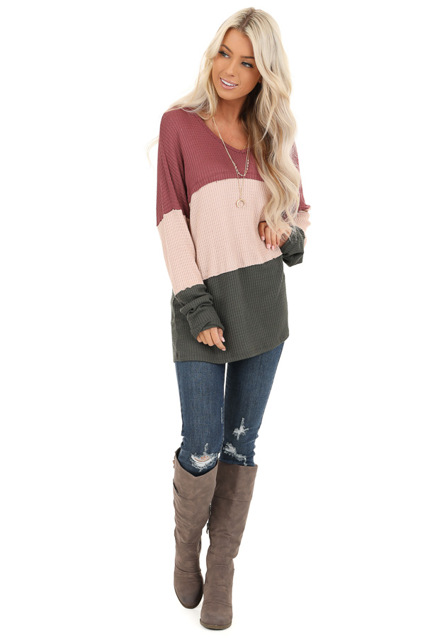 Rust Tan and Olive Long Sleeve Color Block Waffle Knit Top front full body