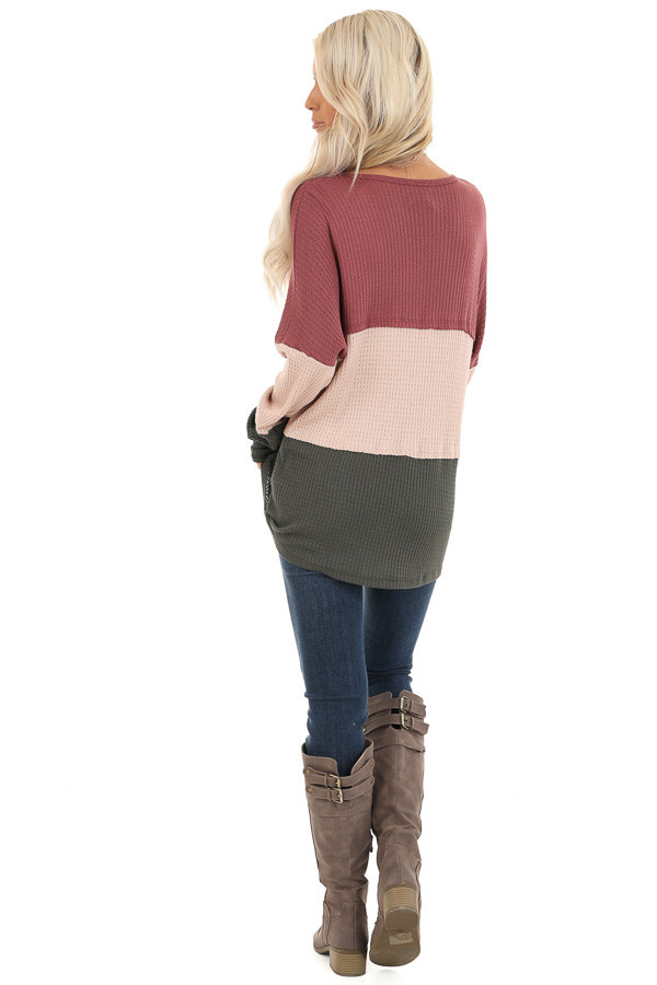 Rust Tan and Olive Long Sleeve Color Block Waffle Knit Top back full body