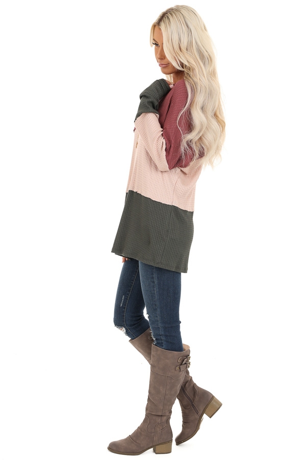 Rust Tan and Olive Long Sleeve Color Block Waffle Knit Top side full body