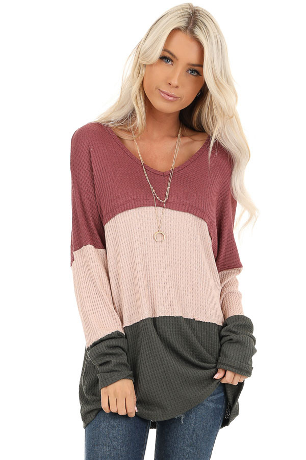 Rust Tan and Olive Long Sleeve Color Block Waffle Knit Top front close up