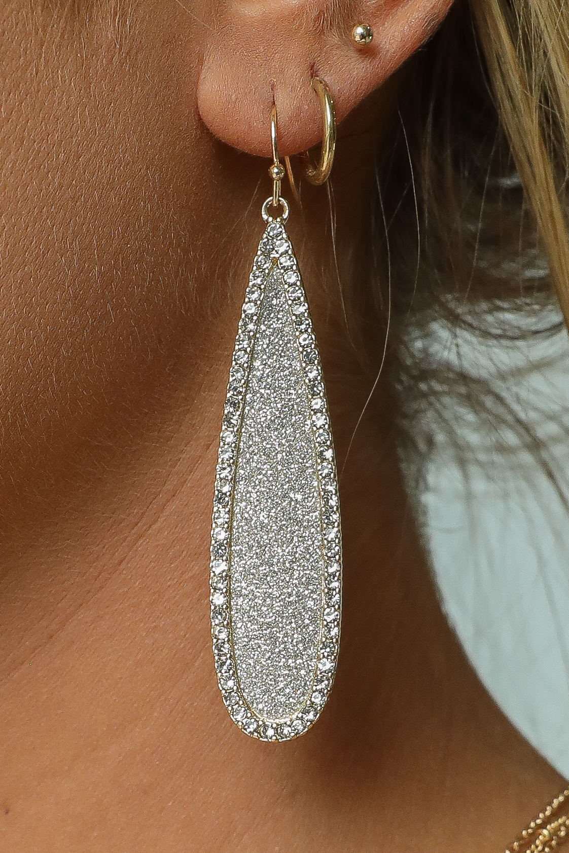 Gold Tear Drop Dangle Earrings with Rhinestone Details