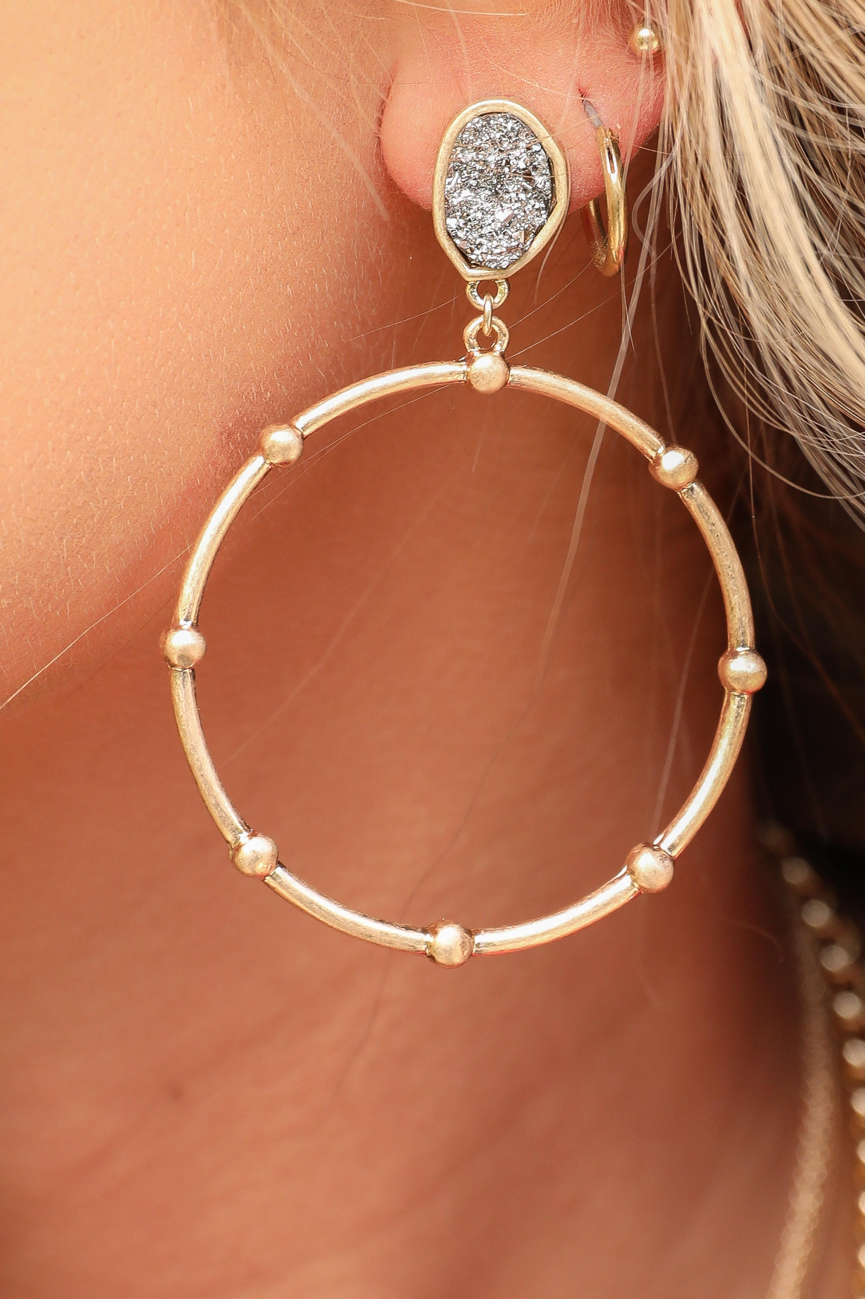 Gold Beaded Hoop Earrings with Hematite Stone Detail