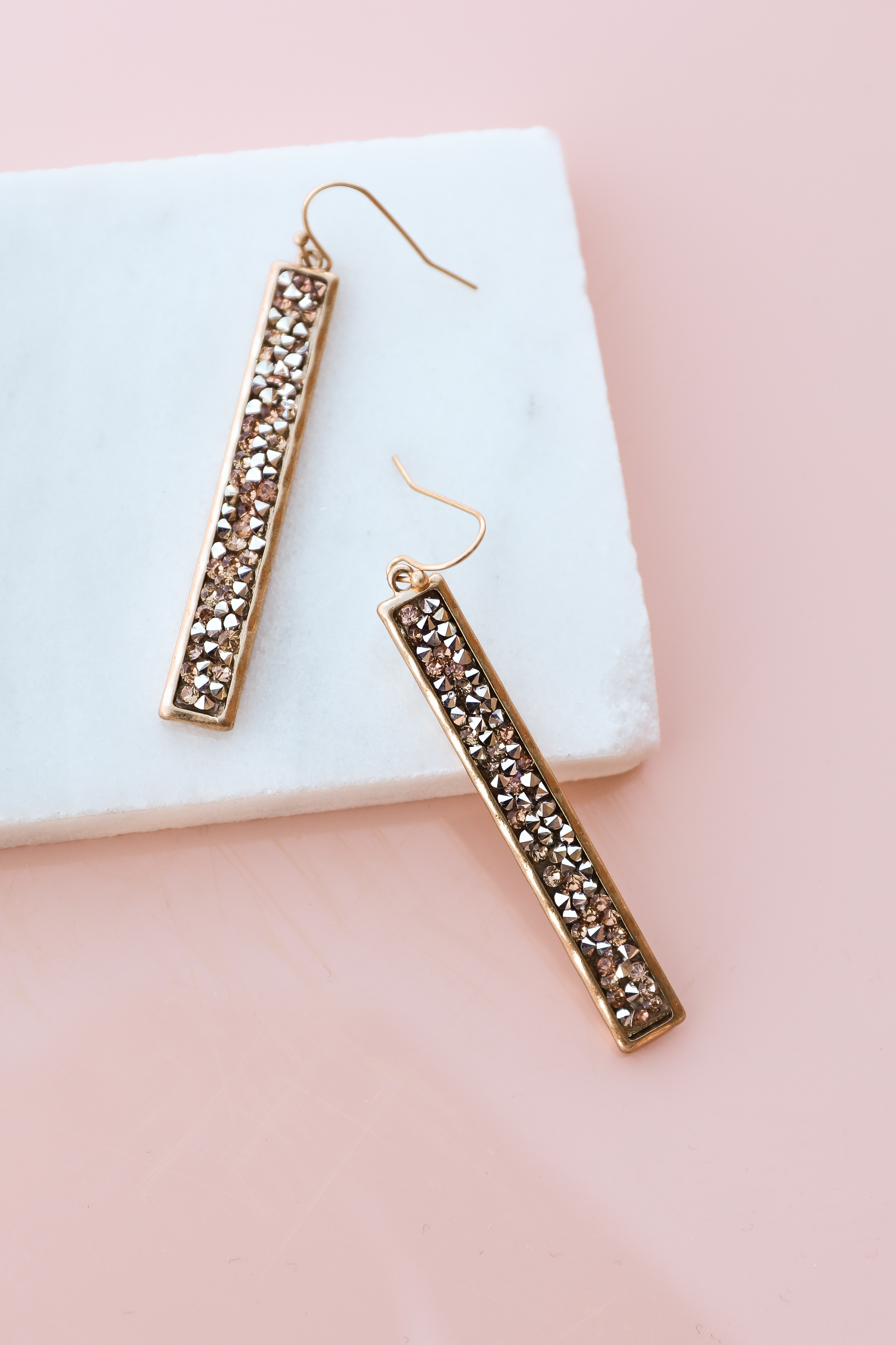 Gold Bar Dangle Earrings with Peach and Silver Rhinestones