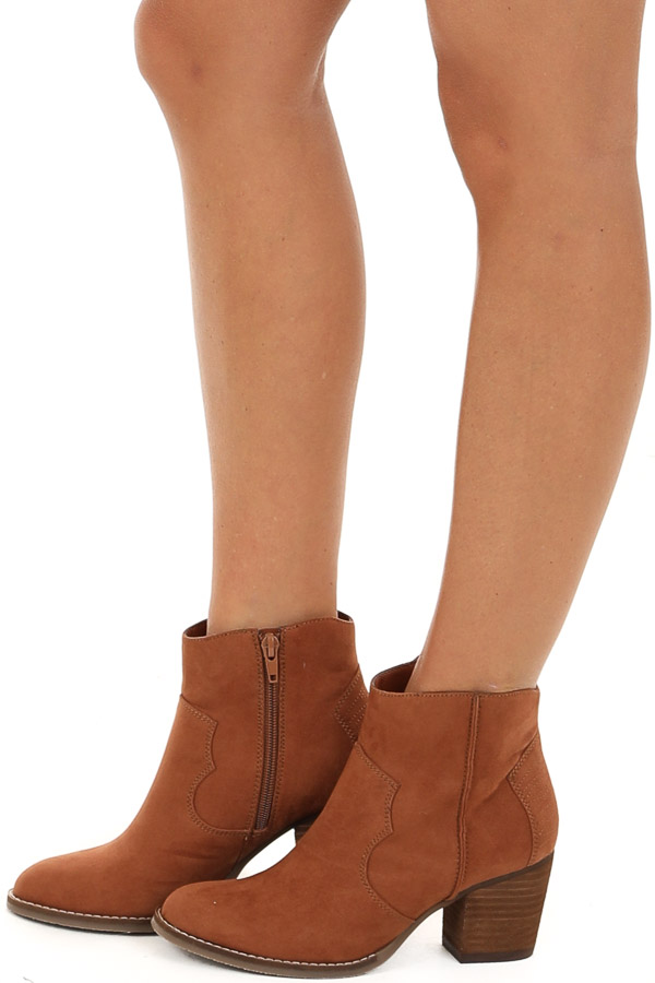 Pecan Brown Suede High Heel Booties with Stitch Details side view