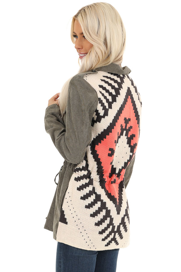 Dusty Olive Button Up Jacket with Multicolor Aztec Knit Back back side close up
