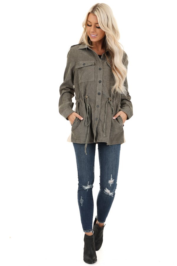 Dusty Olive Button Up Jacket with Multicolor Aztec Knit Back front full body