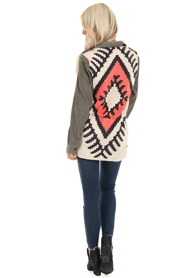 Dusty Olive Button Up Jacket with Multicolor Aztec Knit Back back full body