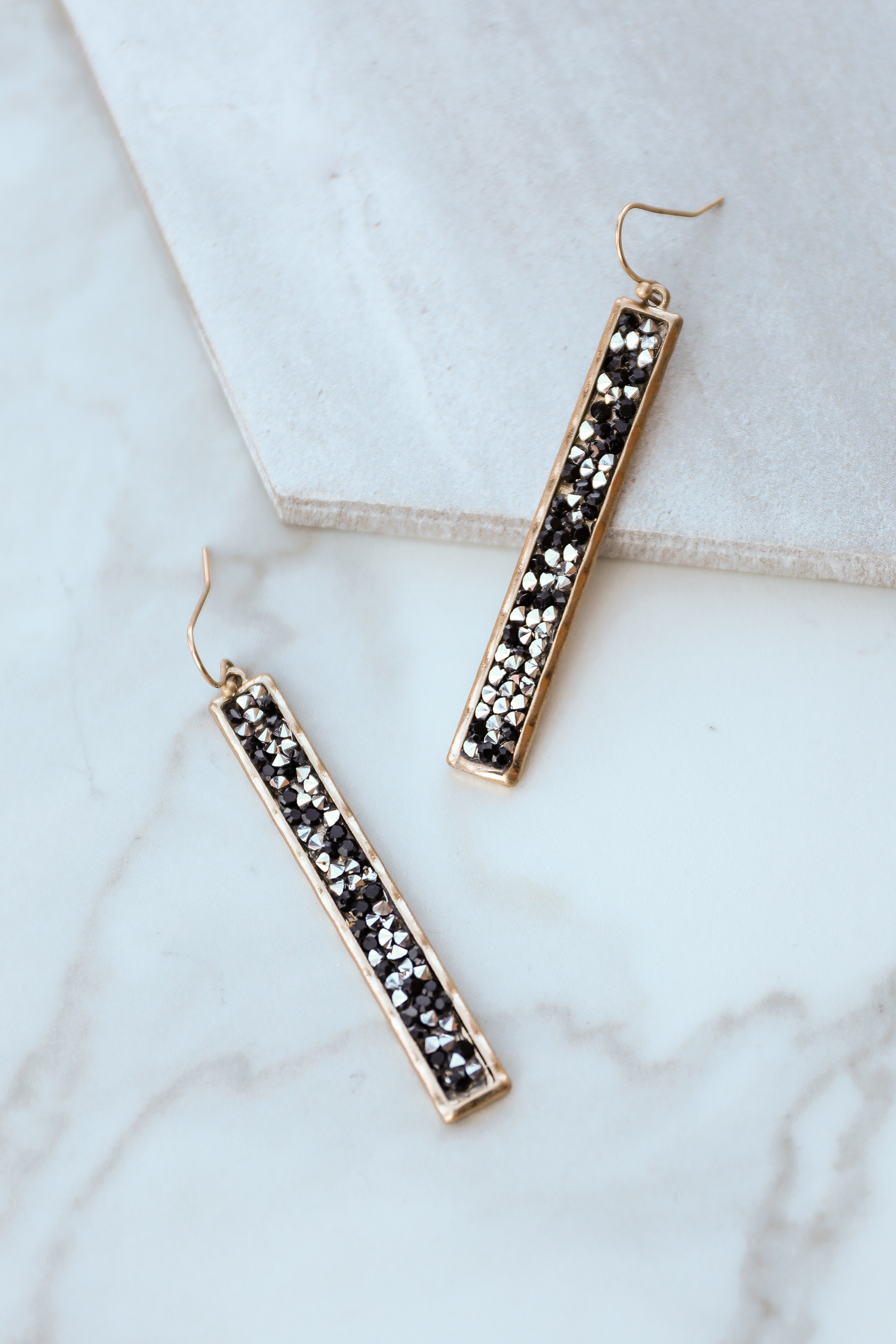 Gold Bar Dangle Earrings with Black and Silver Rhinestones