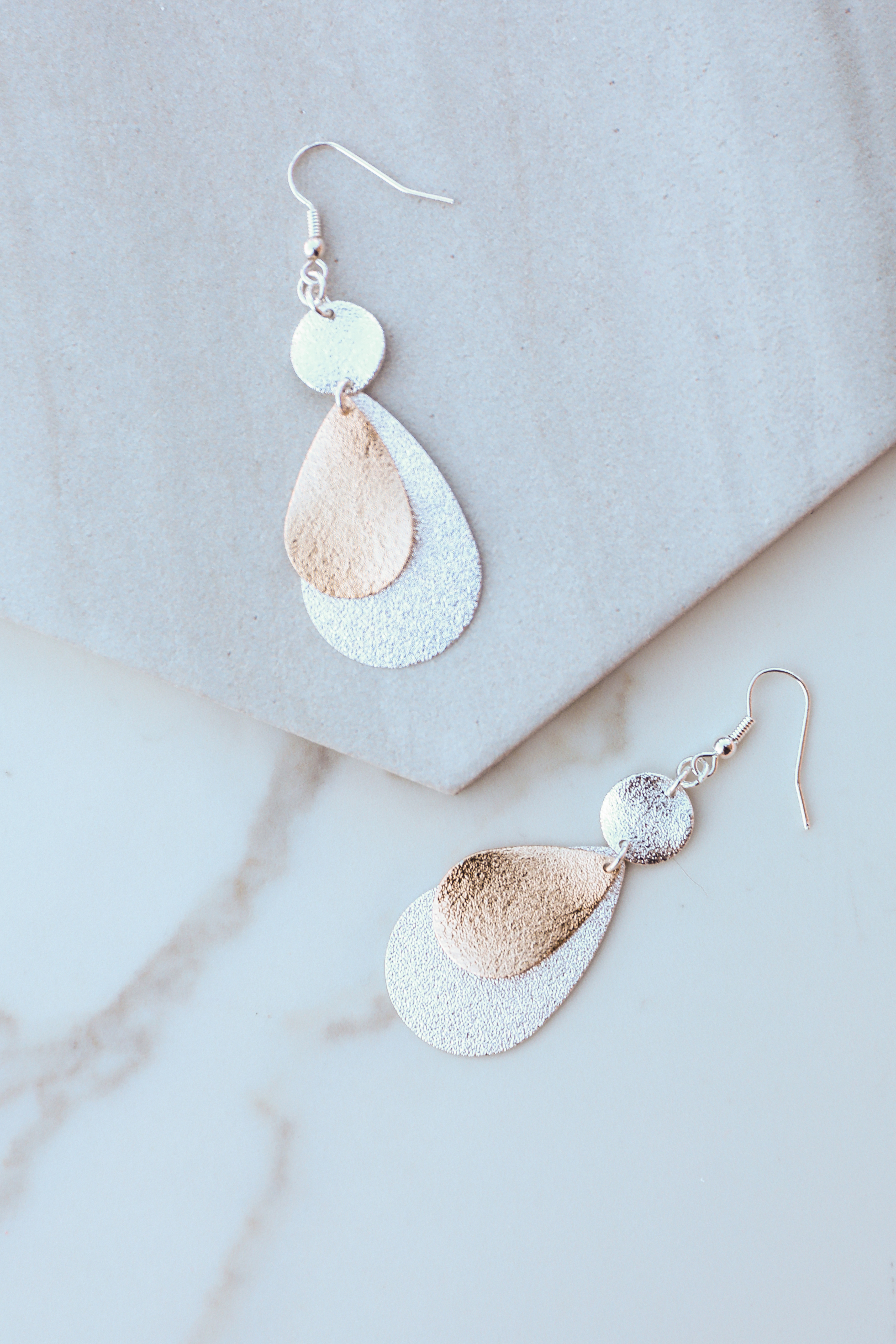 Gold and Silver Textured Tear Drop Dangle Earrings