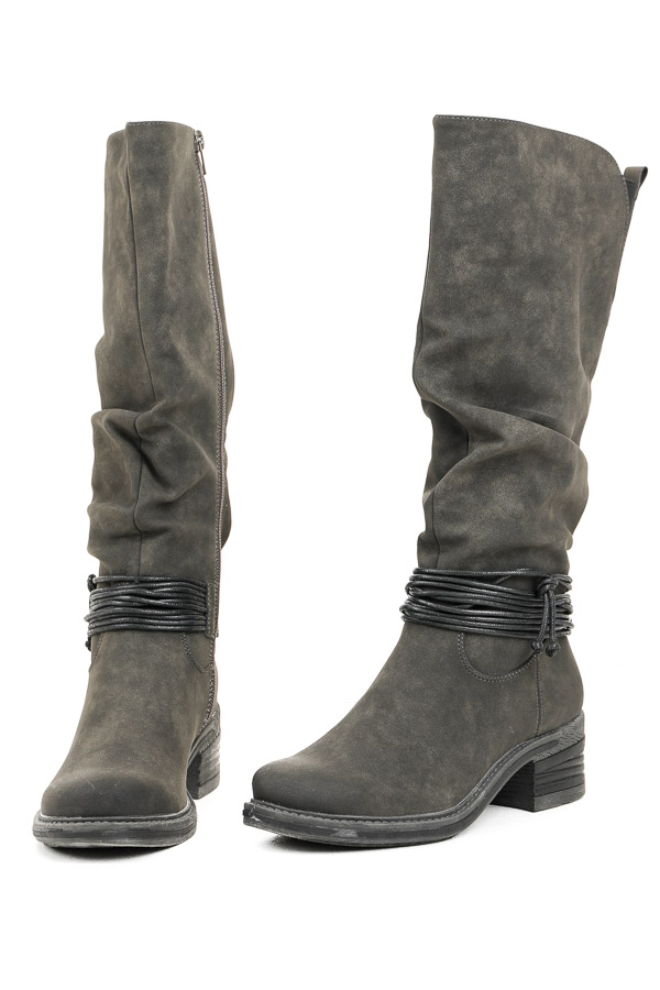 Charcoal Faux Leather High Heel Boots with Wrap Cord Detail