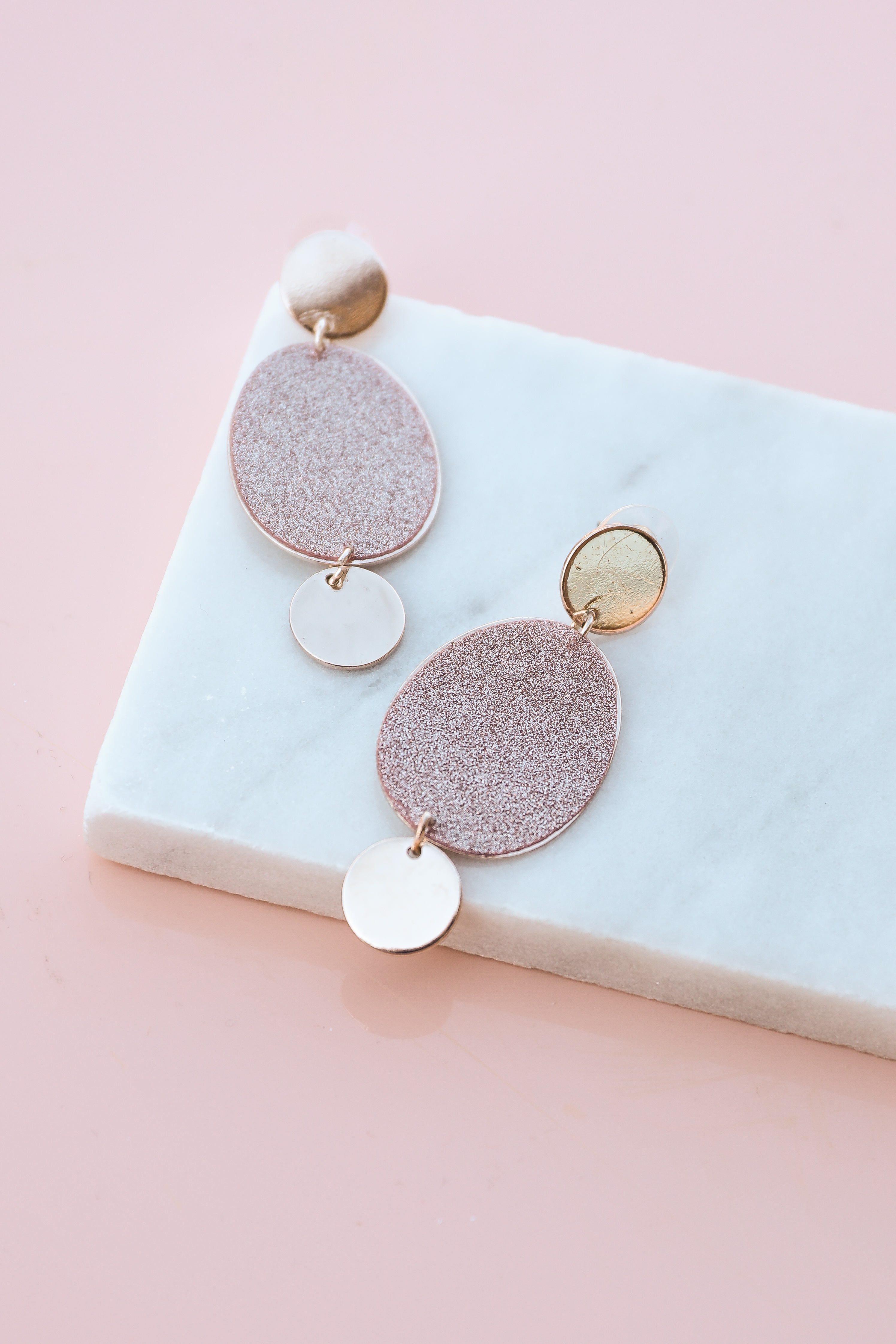 Rose Gold Circle and Oval Pendant Dangle Earrings