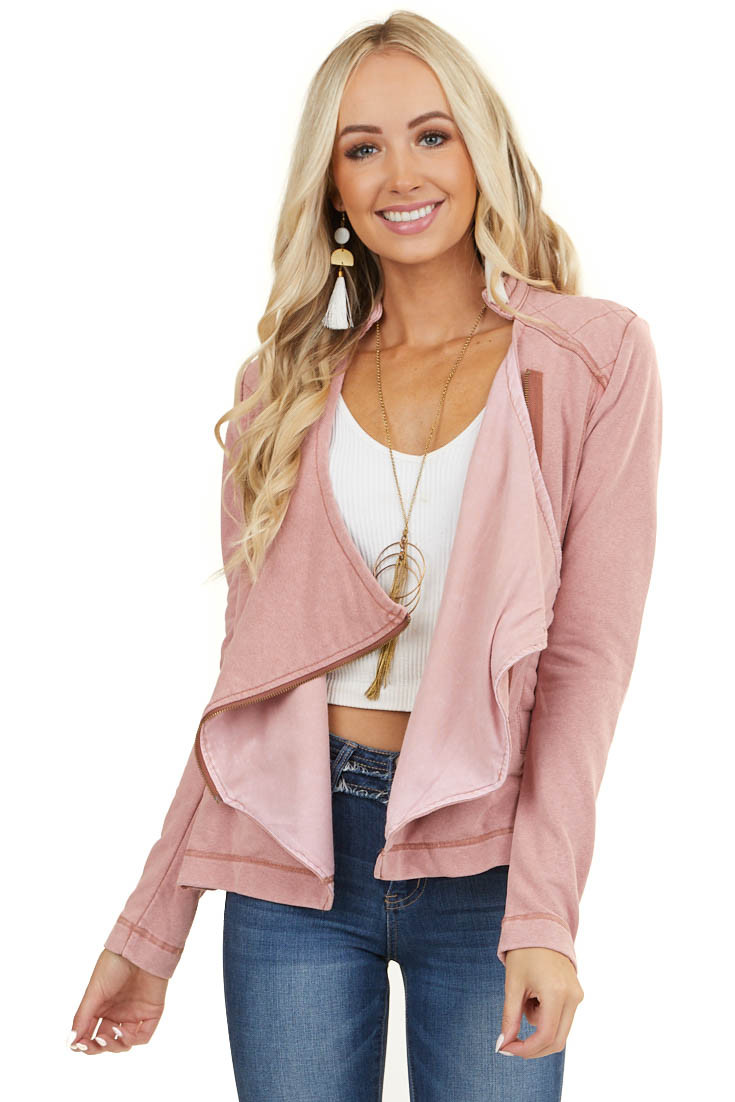 Mauve Long Sleeve Zip Up Jacket with Quilted Detail