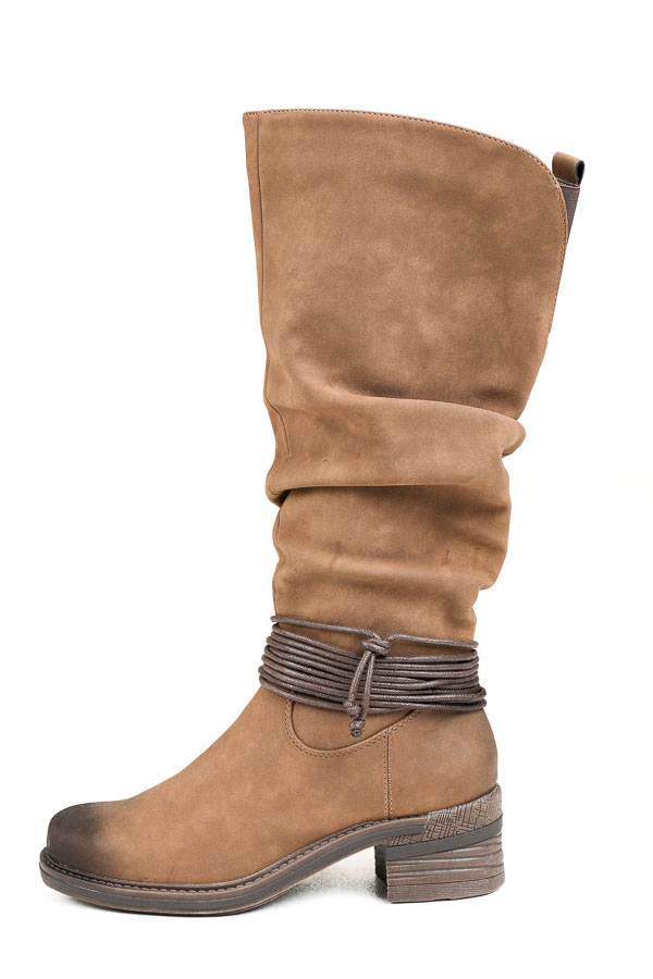 Camel Faux Leather High Heel Boots with Wrap Cord Detail