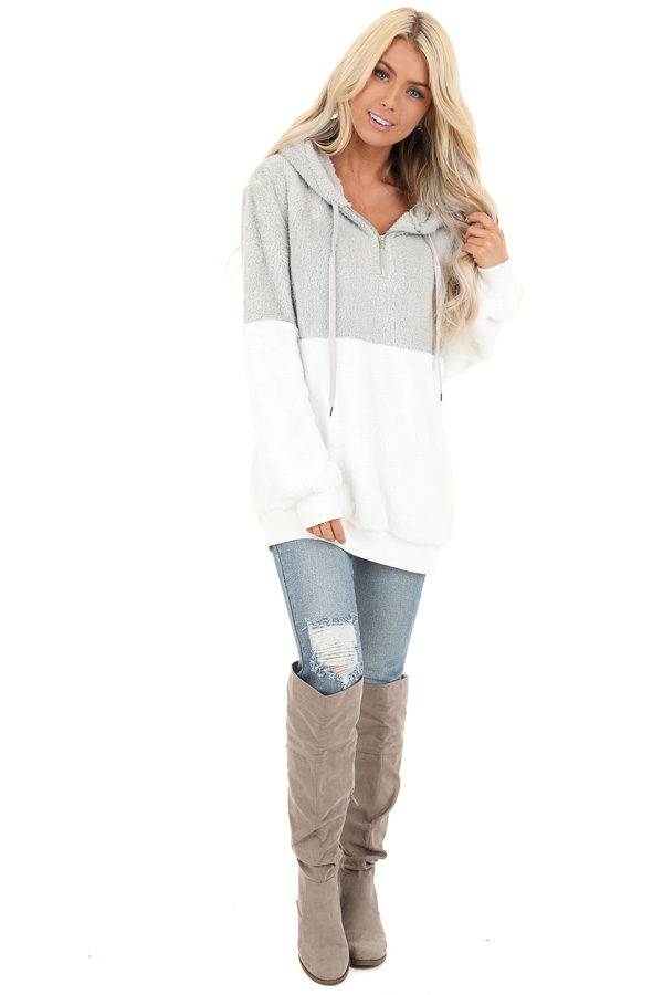Marshmallow and Smoke Color Block Fluffy Hooded Sweater front full body